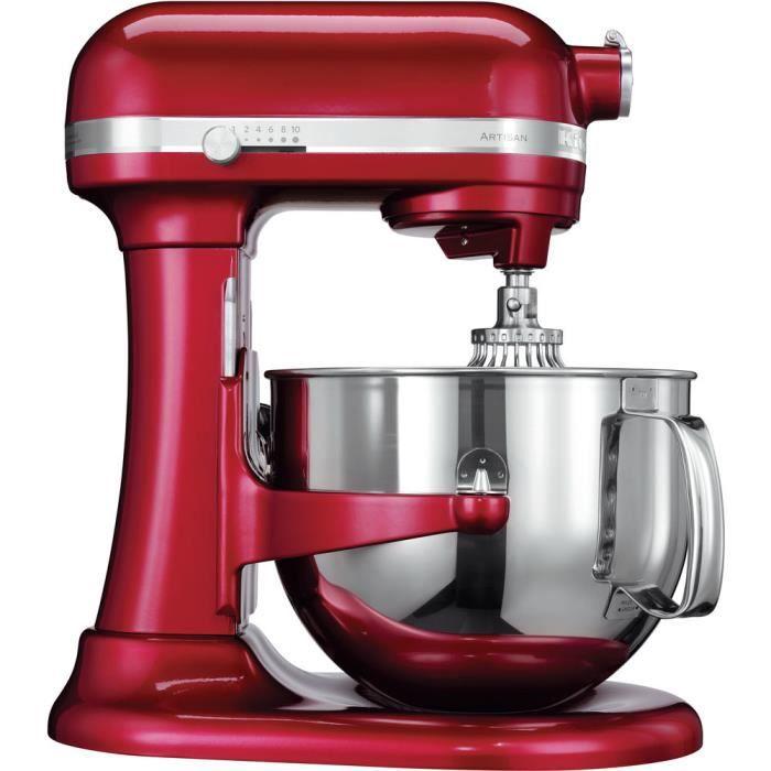 KitchenAid 5KSM7580X, 6,9 L, Rouge, 200 tr-min, Acier inoxydable, 500 W, 220 - 240
