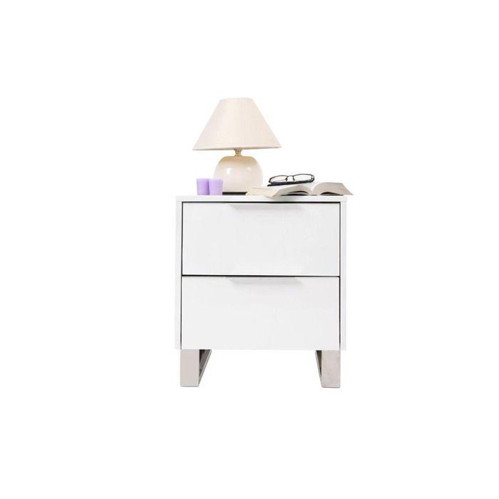 Table de nuit design laquée blanche HALIFAX