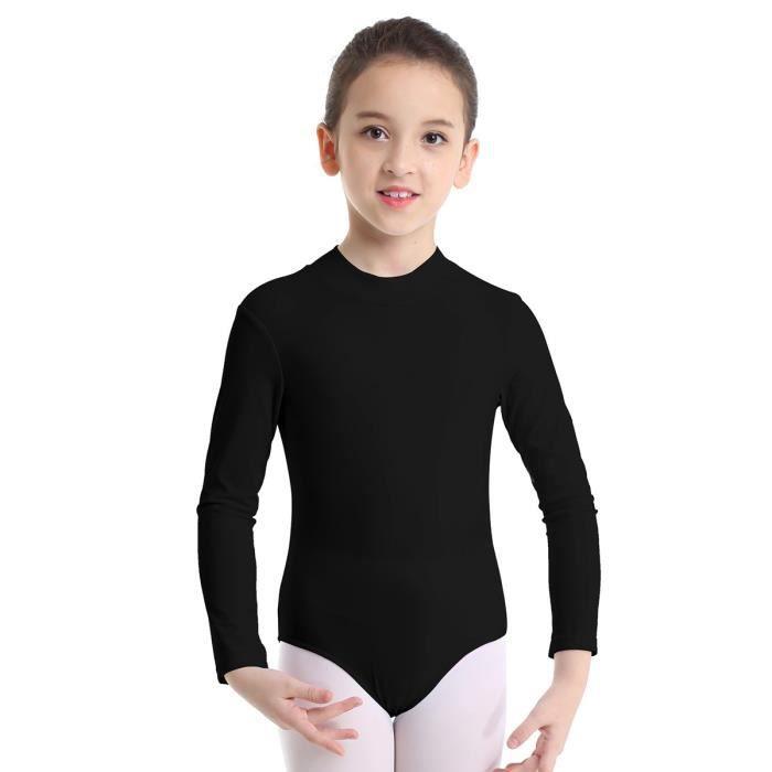 Justaucorps Gymnastique Fille Manches Longues Combinaison Danse Classique Ballet 3-12 Ans Noir