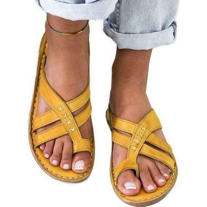 Sandales orthopédiques haut de gamme pour femmes sandale de couleur unie Jaune