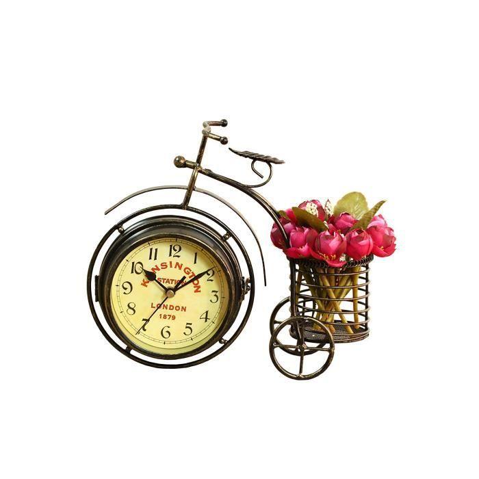 Horloge de siège de vélo à trois roues en fer forgé