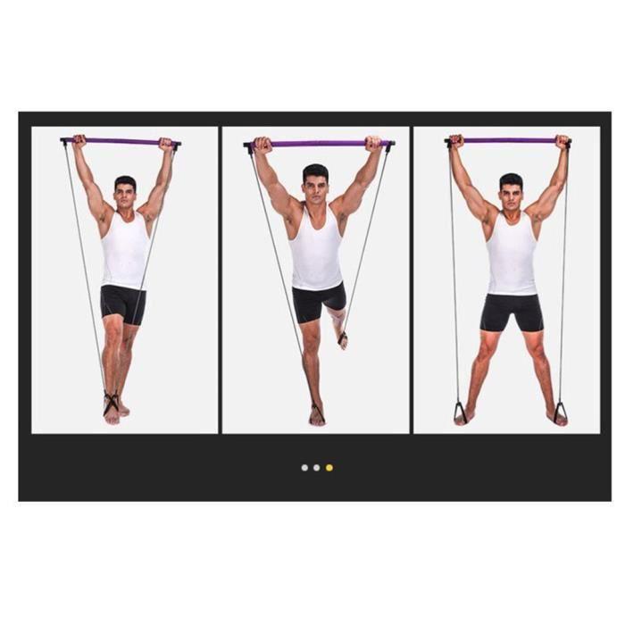 Bâton de fitness Pilates, bande de résistance au yoga, corde de traction en plastique, violet