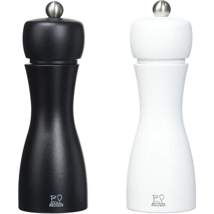 Peugeot Saveurs 2-24260 Tahiti Duo Moulins à poivre et sel Bois mat Blanc-Noir 15 cm