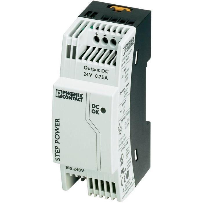 Bloc d'alimentation à découpage pour rails DIN 24 V/DC / 0,75 A / 18 W Phoenix Contact STEP-PS/1AC/24DC/0.75