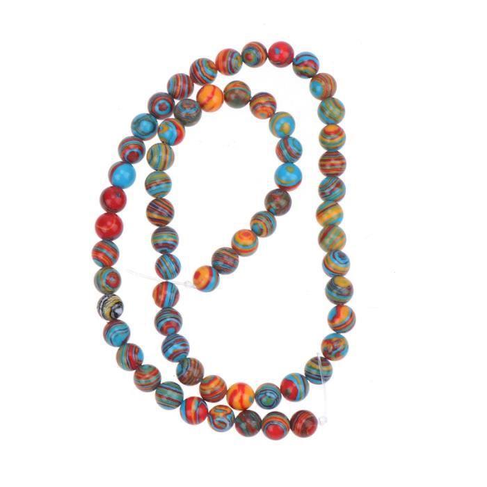 184pcs perles de pierre colorées malachite rondes polies bricolage de créatives bijoux accessoires BRACELET - GOURMETTE - JONC