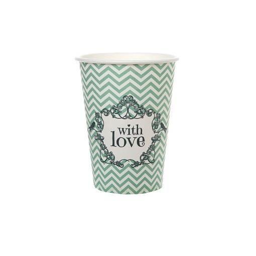 Gobelet mariage: Vintage Mint (mélange vert et turquoise) (x10) R/4785 Matière carton