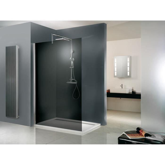 Paroi de douche fixe à l'italienne 120x200 cm, Walk In Free, verre fumé, profilé aspect chromé, Schulte