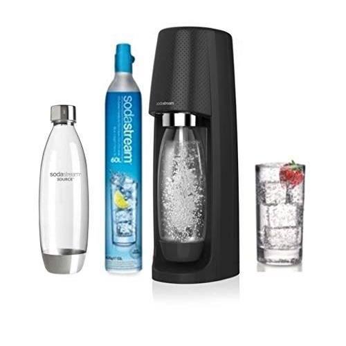 sodastream Pack SPIRITNFUSE-Ma à Eau pétillante + 2 Bouteilles, Plastique + Pet, Noire, 19,5 x 19,5 x 43,5 cm