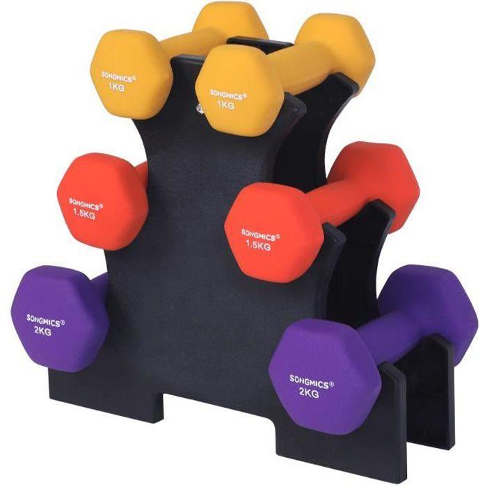 SONGMICS Set haltère, 3 Paires, 2 x 1 kg, 2 x 1.5 kg, 2 x 2 kg, Support de Rangement, Revêtement en vinyle antiglisse, SYL69BK