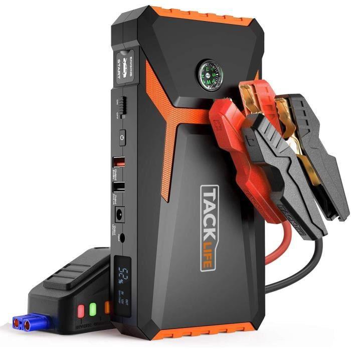 Démarreur de Batterie de Voiture Orange 12V TACKLIFE, Booster de Démarrage Portable 18000mAh avec écran LCD - T8