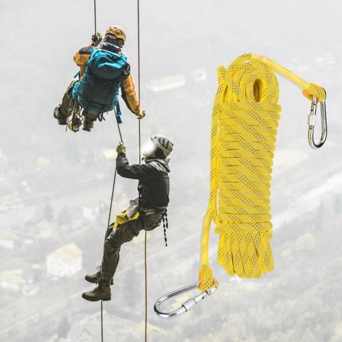 ABI 20m Corde d'Escalade pour Escalader Parachute Robuste jaune tout neuf
