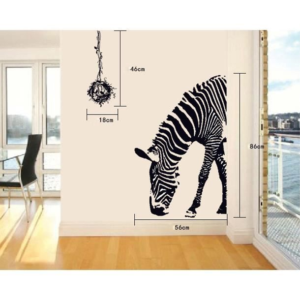 Z bre amusant art stickers muraux amovibles d coration for Deco murale zebre
