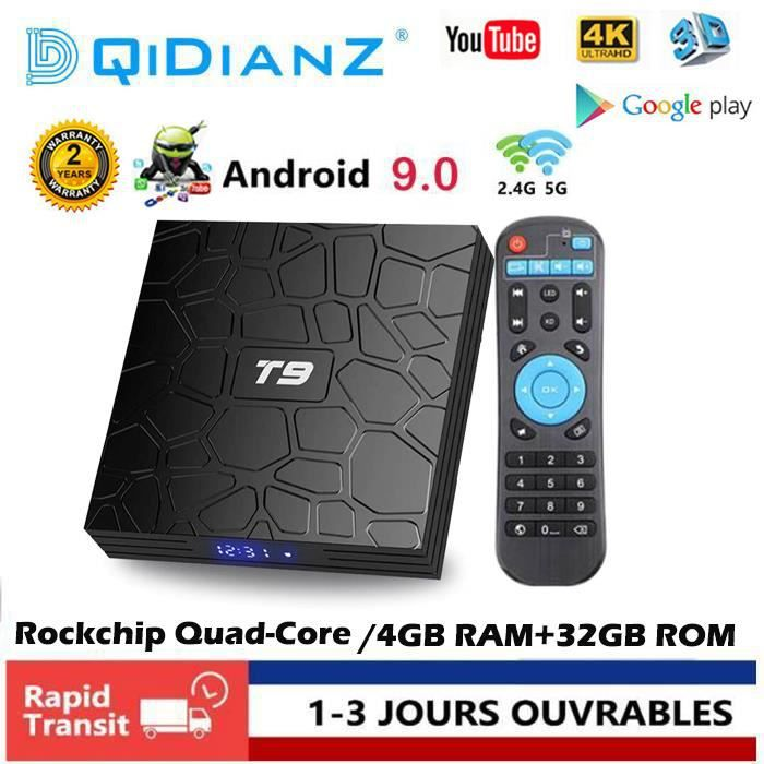 BOX MULTIMEDIA DQiDianZ Android 9.0 T9 Grande capacité 4GB+32GB W