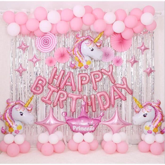 Décoration Anniversaire Licorne Ballons Banniere Joyeux Anniversaire  Licorne Happy Birthday Fournitures De Fête Enfants Adulte Fille