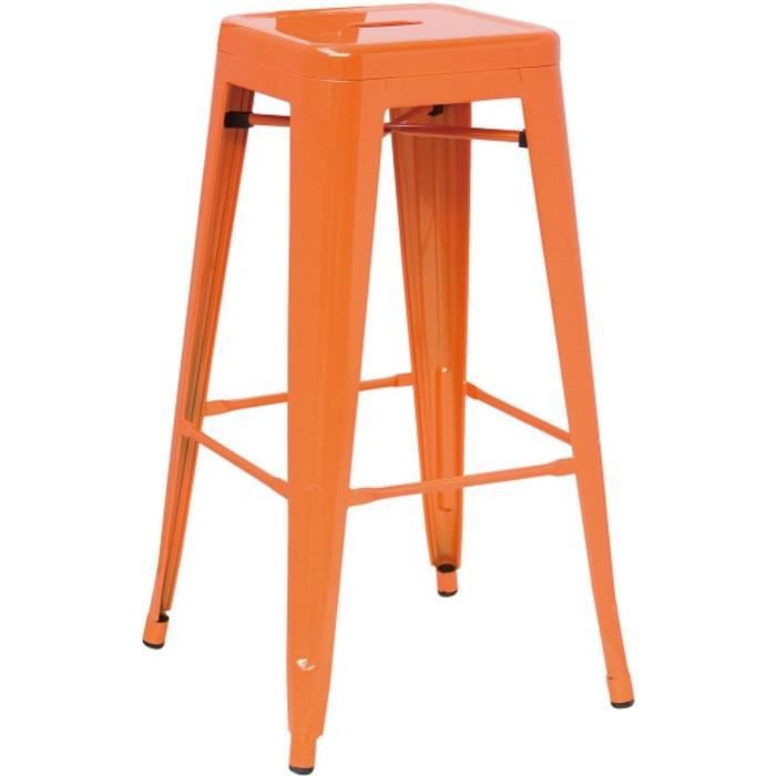 hasonay cuisine tabouret de bar orange m tal fixed frame. Black Bedroom Furniture Sets. Home Design Ideas