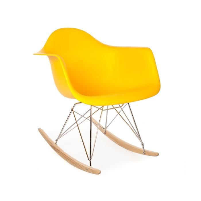 eames rocking chair rar jaune achat vente fauteuil cadeaux de no l cdiscount. Black Bedroom Furniture Sets. Home Design Ideas