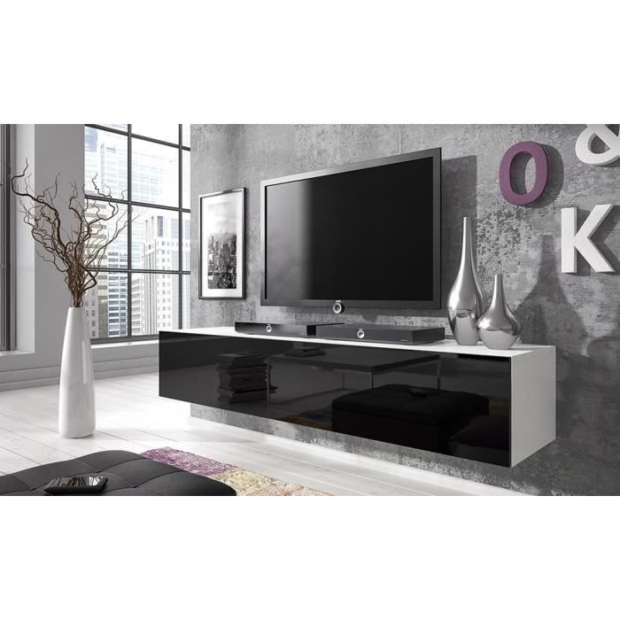 Meuble tv point 160 matte blanc noir brillant achat - Meuble suspendu salon ikea ...