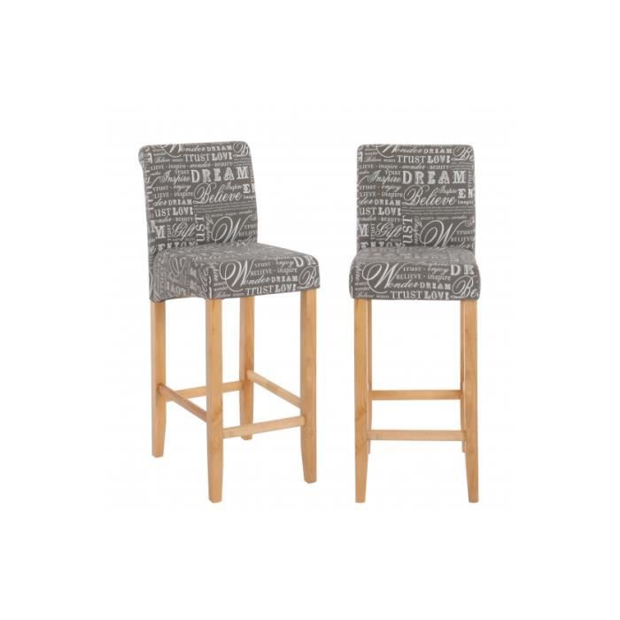 lot de 2 tabourets de bar en tissu gris achat vente tabouret de bar bois lin cdiscount. Black Bedroom Furniture Sets. Home Design Ideas