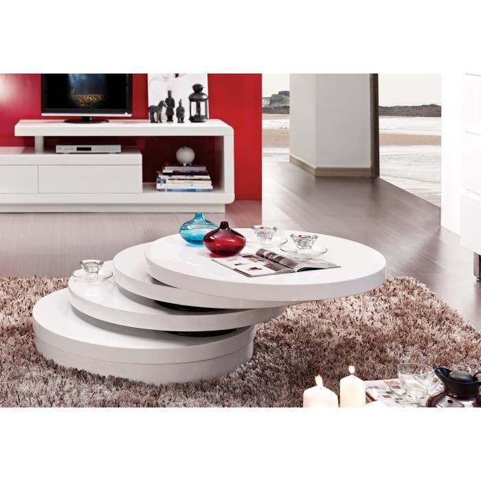Table basse design charle pivotante laqu e blanche achat vente table bass - Table basse blanche cdiscount ...