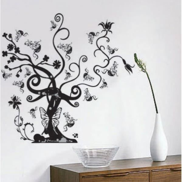 sticker mural arbre noir et papillon achat vente stickers cdiscount. Black Bedroom Furniture Sets. Home Design Ideas