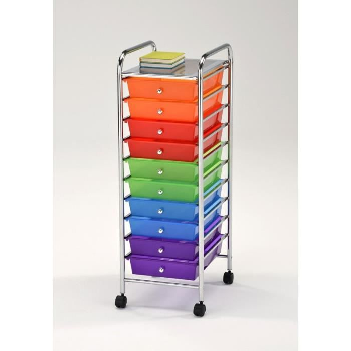 chariot de rangement roulette acier chrom inox 10 tiroirs multicolores plastiques rainbow. Black Bedroom Furniture Sets. Home Design Ideas