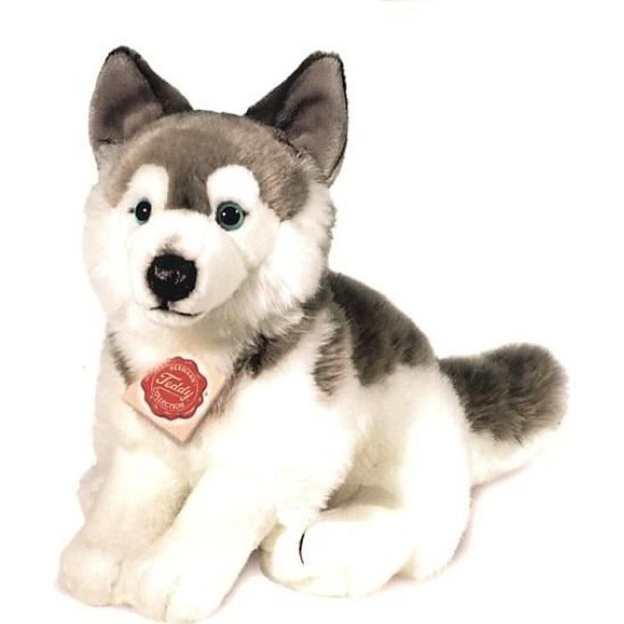 peluche chien husky assis 29 cm achat vente peluche cdiscount. Black Bedroom Furniture Sets. Home Design Ideas