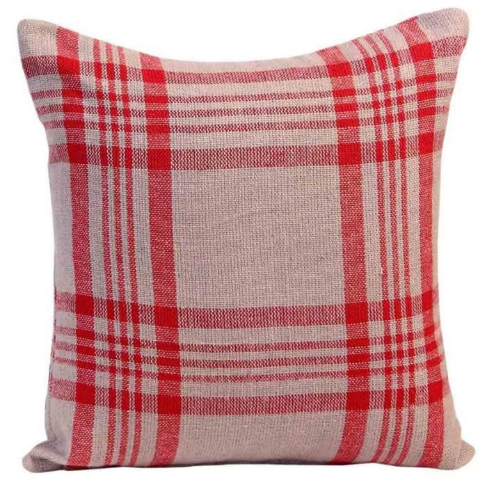 coussin d houssable carreaux tartan gris et rouge 45 x 45 cm achat vente housse de coussin. Black Bedroom Furniture Sets. Home Design Ideas