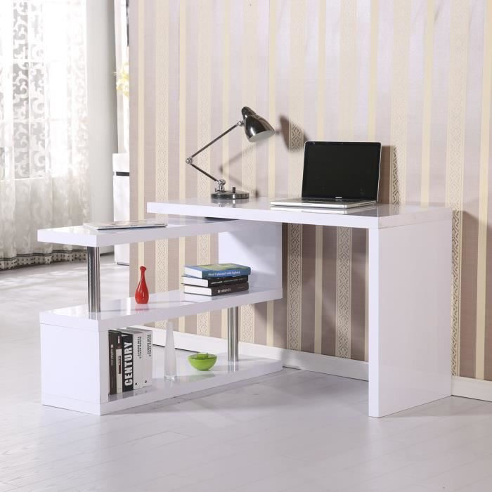 table ordinateur meuble bureau avec tag res multi angle meuble de rangement 2 niveaux 187. Black Bedroom Furniture Sets. Home Design Ideas