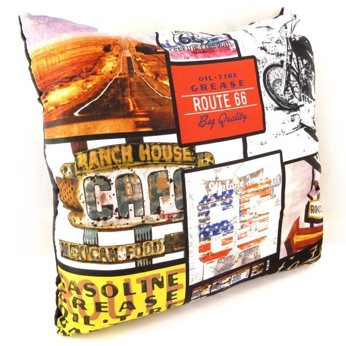 coussin d co route 66 tutti frutti achat vente coussin cdiscount. Black Bedroom Furniture Sets. Home Design Ideas