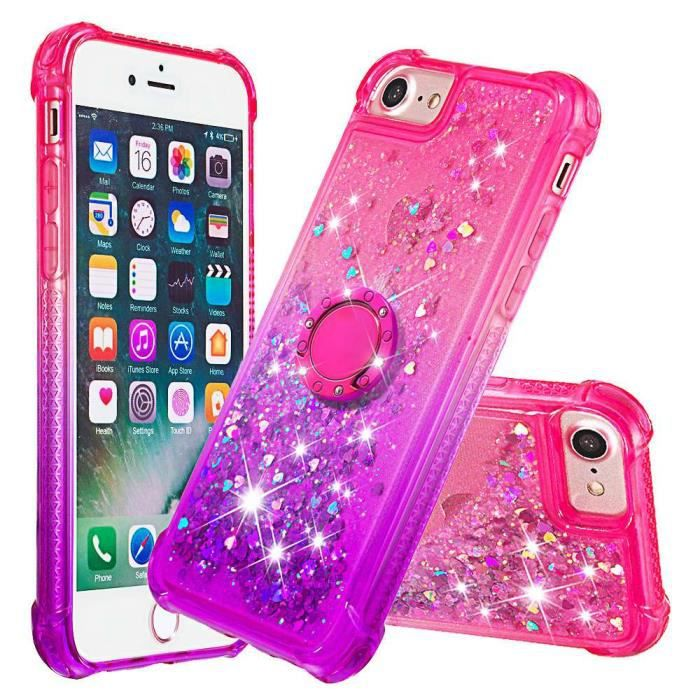 coque iphone 6s 6 rose pourpre scintillant transpa