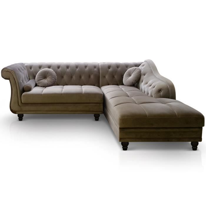 canap d 39 angle brittish velours taupe style chesterfield. Black Bedroom Furniture Sets. Home Design Ideas