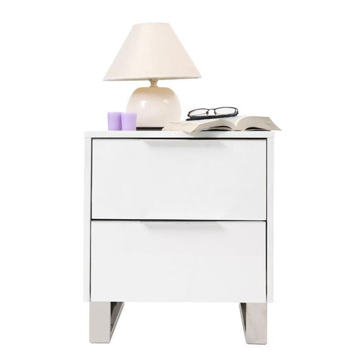 Table de nuit design laqu e blanche halifax achat vente chevet table de n - Table de chevet blanche ...