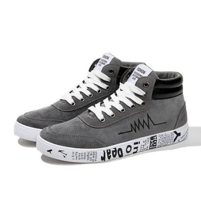 Casual Chaussure Toile Basket Homme Gris Chaussure