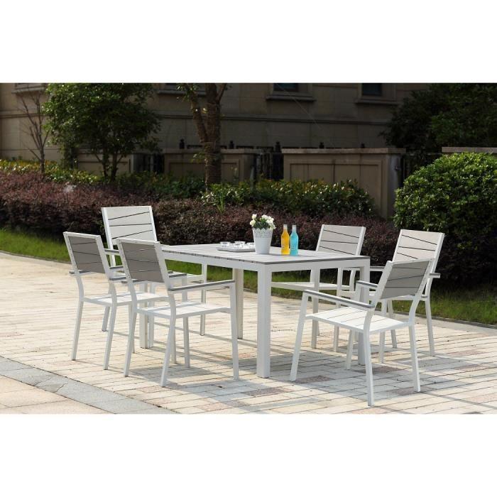 Le Carillon : salon de jardin aluminium et polywood 6 places gris et blanc