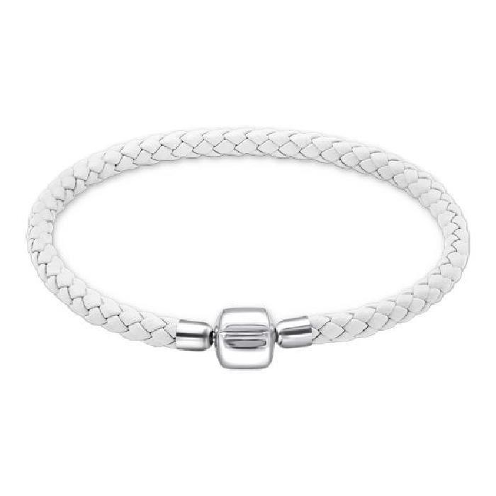 Bracelet Charms 19 cm Cuir Blanc Fermoir Poussoir Argent 925 ...