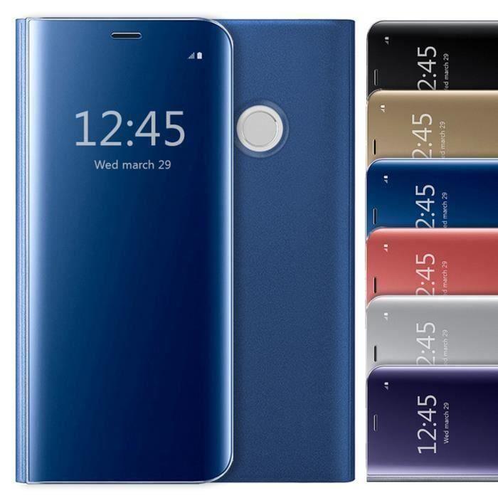 Coque Samsung Galaxy J4 /J4 Plus Clear View Etui à Rabat Antichoc Coque Miroir Smart Stand Etui Housse pour Samsung J4 Plus Violet
