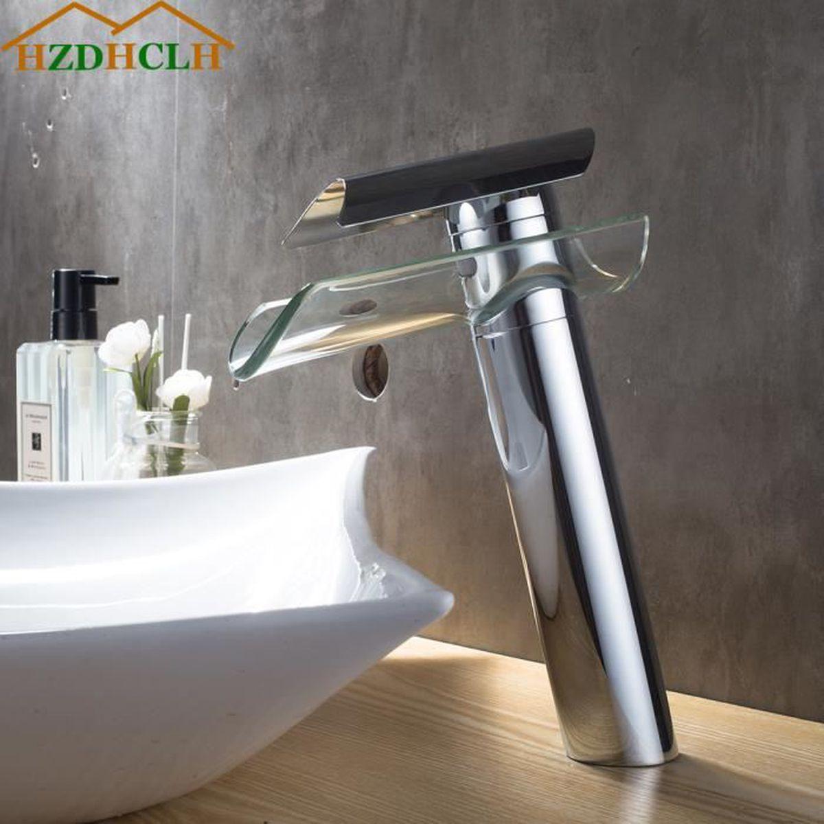 Robinet Tete avec bec Cascade Haute en Lation Chaud et Froid Mitigeur de Robinet de lavabo Chrom/é Monocommande Trou Simple Comptoir pour Salle de bain( 10 ans garanti)
