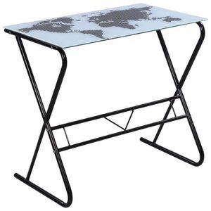 BUREAU  Bureau table meuble travail informatique en verre