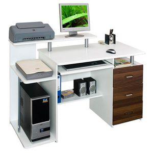 BUREAU  Bureau / Table informatique STELLA, blanc / noy…
