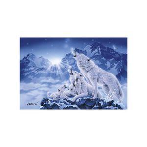 PUZZLE Puzzle Adulte : Famille De Loups Au Clair De Lune