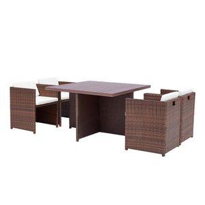 DCB GARDEN Salon de jardin Encastrable avec Table/8 places ...