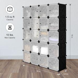 ARMOIRE DE CHAMBRE Finether 20-Cube Armoire Penderie Motif de Fleur B