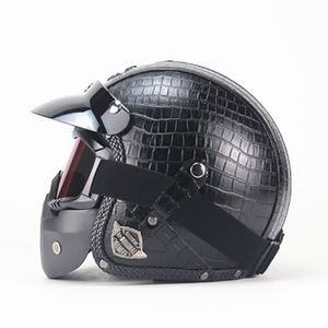 CASQUE MOTO SCOOTER Casque Harley vintage visage complet 3-4 casque mo