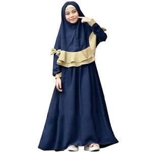ROBE BLEU 2-7 Ans Robe Longue Musulmane Islamique Abaya