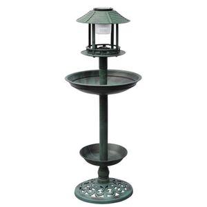 FONTAINE DE JARDIN Fontaine bain d'oiseaux verte avec lampe solaire