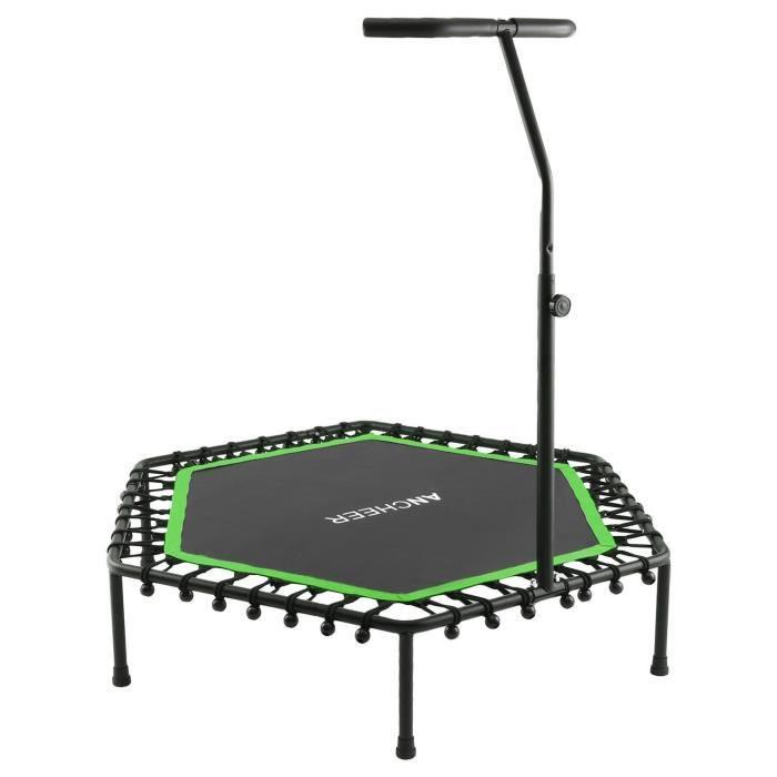 Trampoline fitness - Trampoline intérieur et de jardin - Poignée réglable - Poids Utilisateur Max 220 lb - Vert