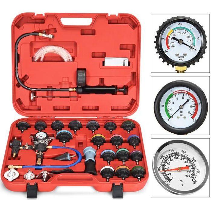 COSTWAY Kit de Testeur de Pression 28Pcs Radiateur Outil de Suppression pour Système de Refroidissement 58 x 47 x 10,5 cm Rouge