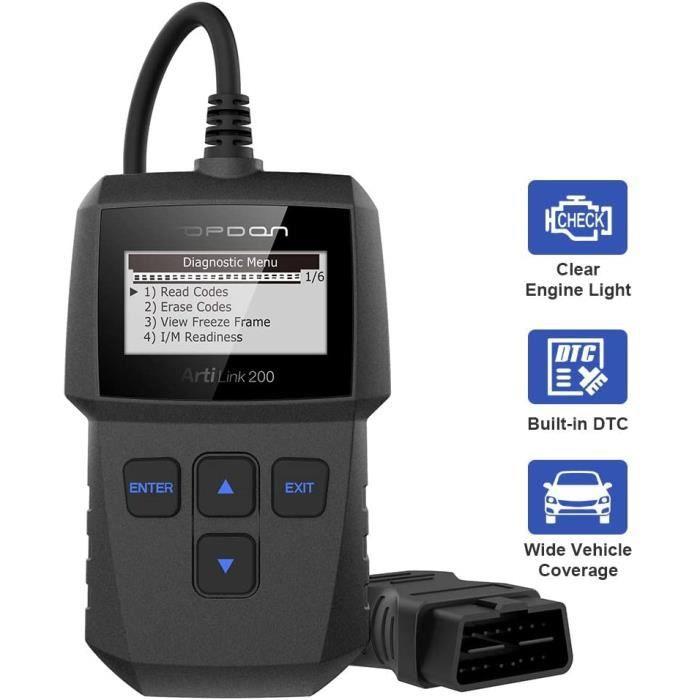 TOPDON Artilink 200 Valise Diagnostic CAN / OBD II Scanner Outil de Diagnostic avec Voyant du Moteur de Vérification Automatique