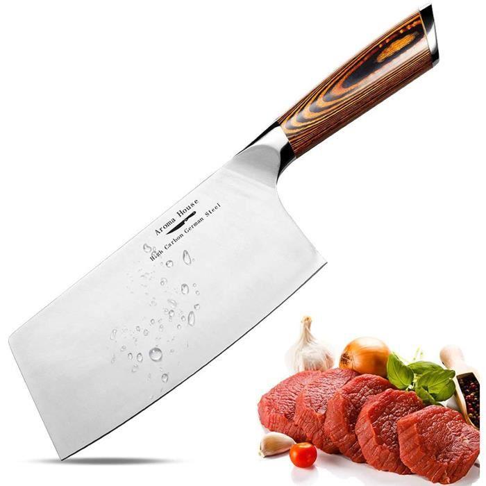 Aroma House Couteau du Chef Chinois-17cm Couperet de Cuisine,Feuille de Boucher Couteau Couteaux de Cuisine Acier Inoxydable,Poignée