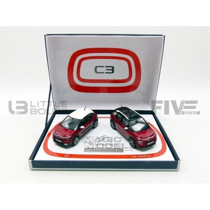 Voiture Miniature de Collection - NOREV 1/43 - CITROEN Coffret C3 et C3 Aicross - 2017 - Red - 155329